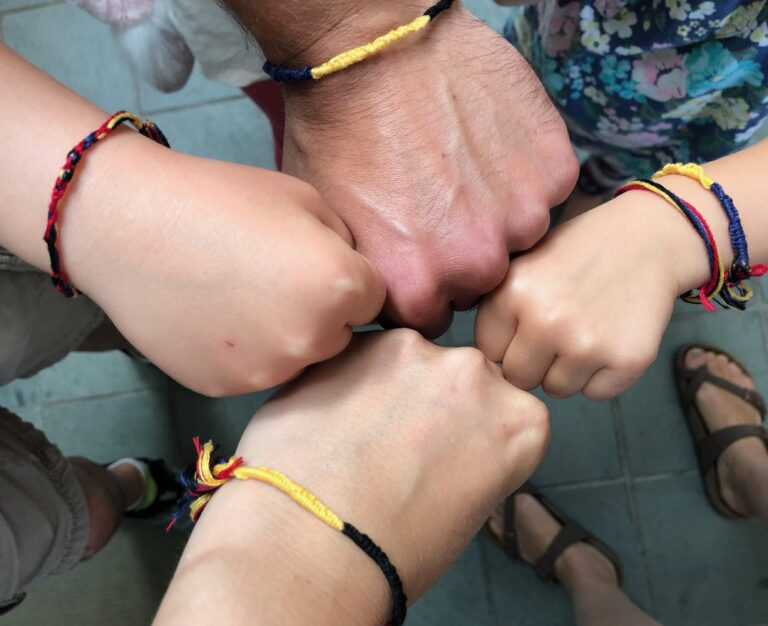 Bracelets on hands