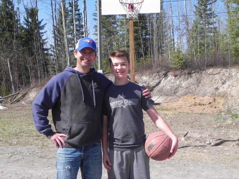 Father and son basketball game