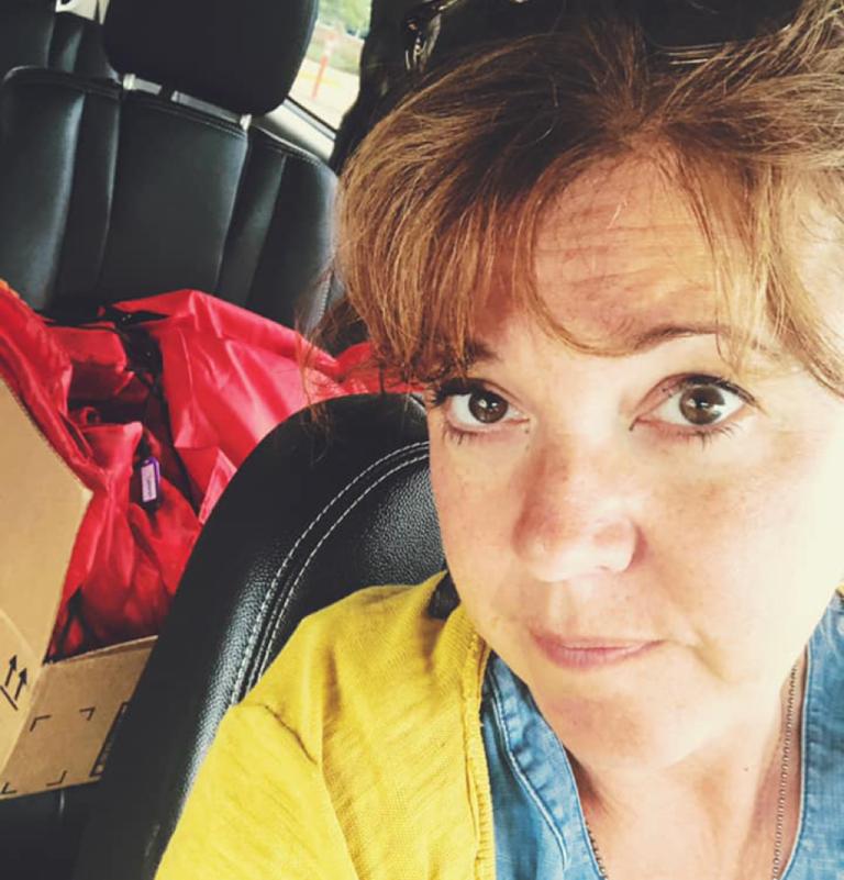 Woman selfie in a car