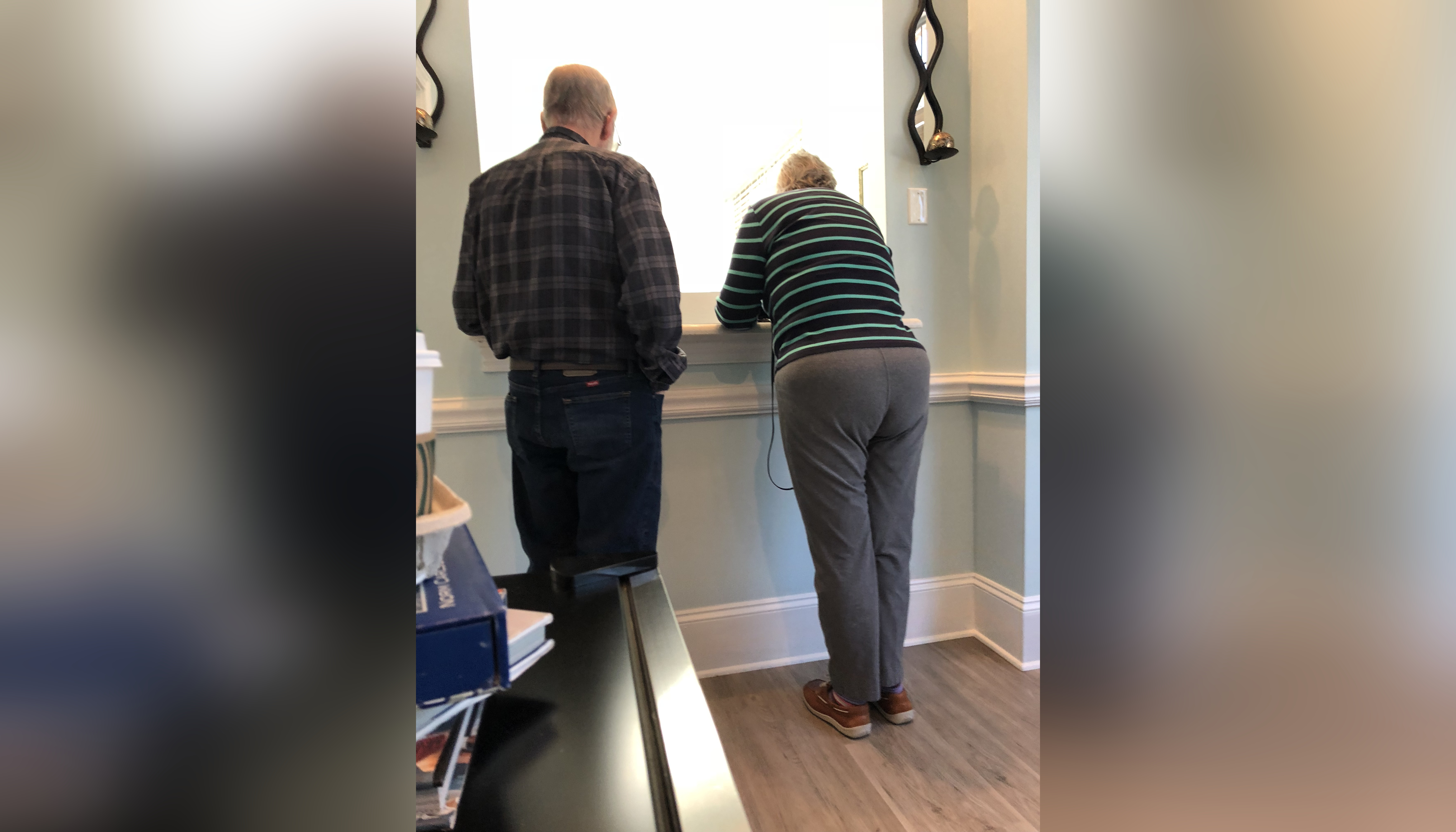 Elderly couple from behind