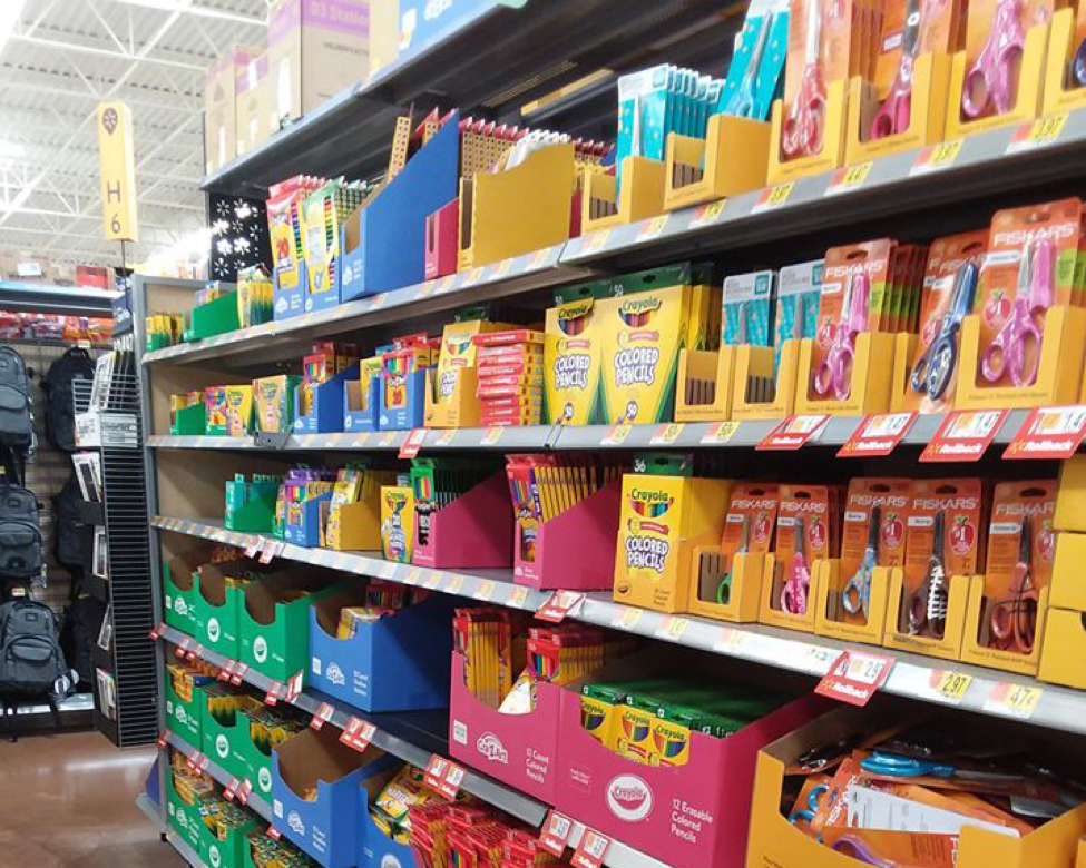 School supplies in store aisle