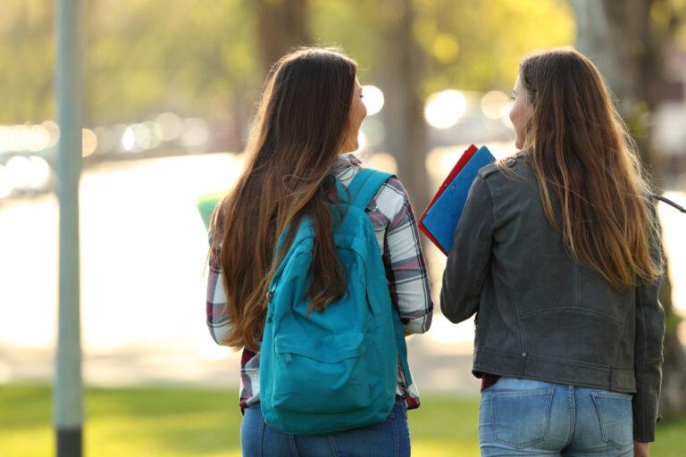 College girls on campus walking