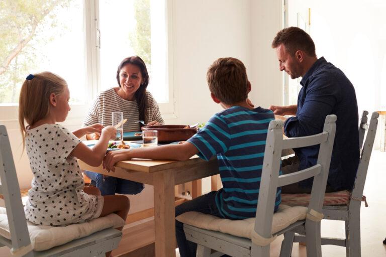 Family having dinner at table