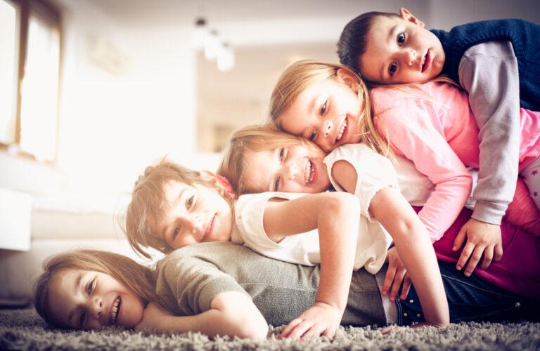 Five kids in living room