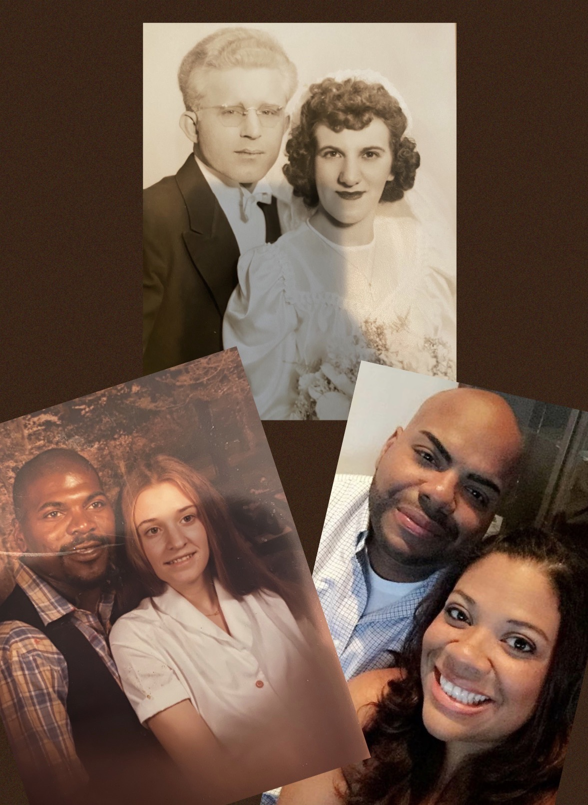Three photos of couples, color photo