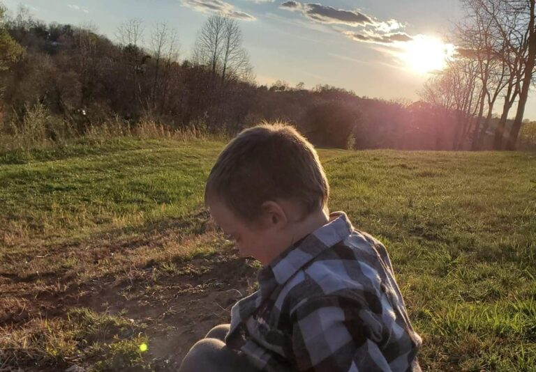 Little boy in the sunlight, color photo