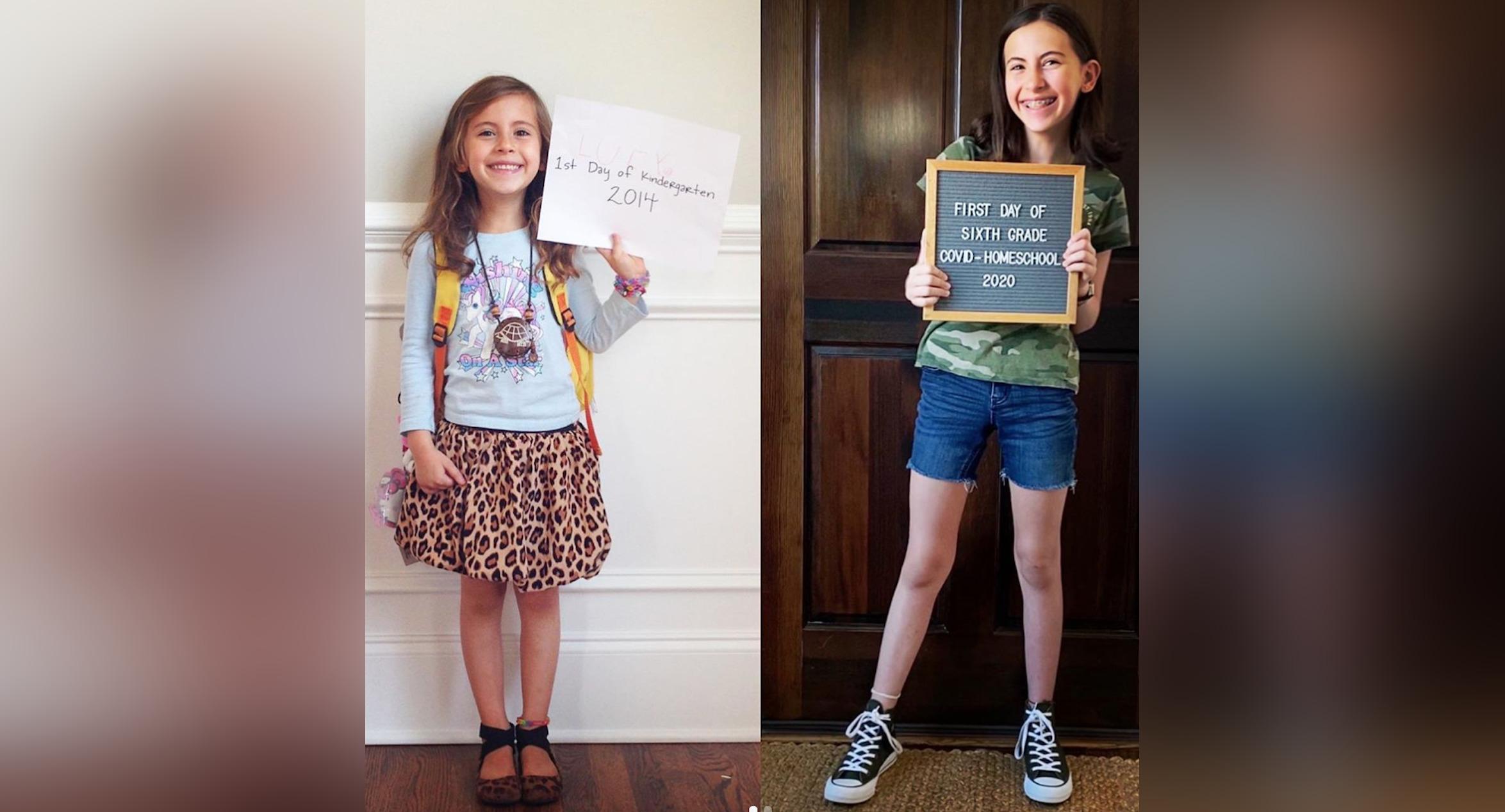 Side by side photo of kindergartener and middle schooler