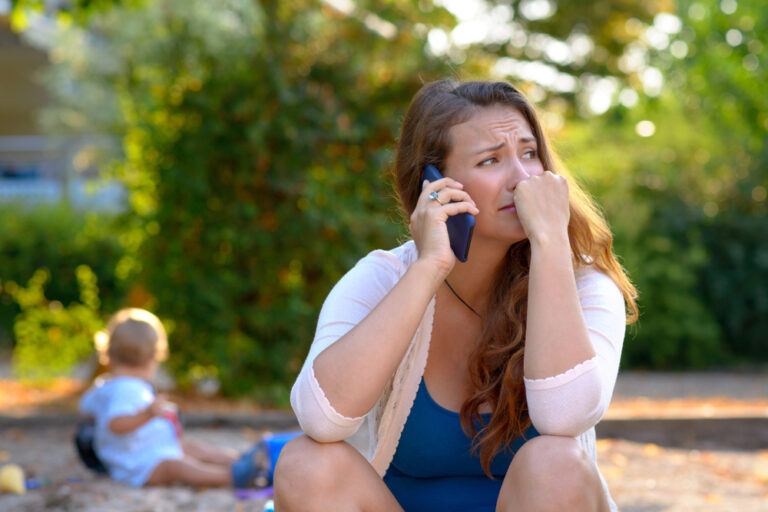 Mother stressed on phone
