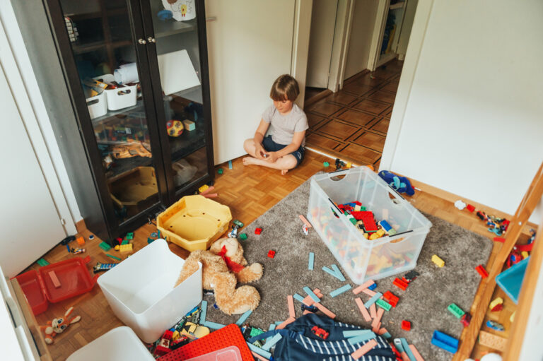 Messy house with toys