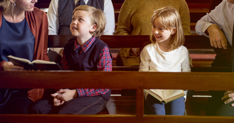 Mom with kids in church
