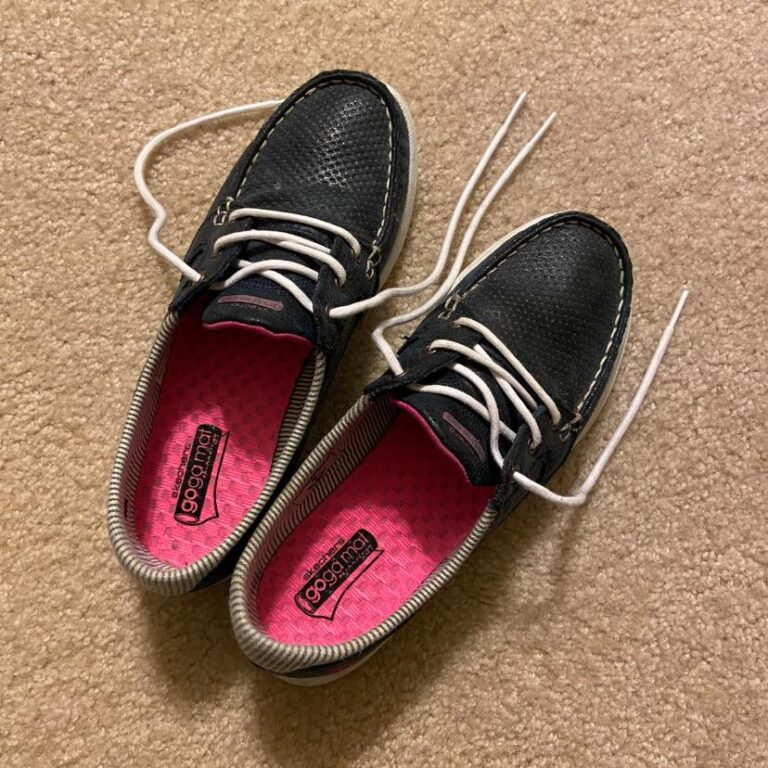 Black shoes with white laces, color photo