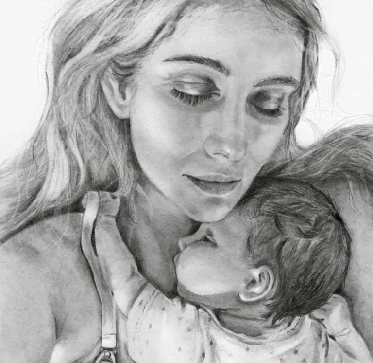 Baby on mother's chest