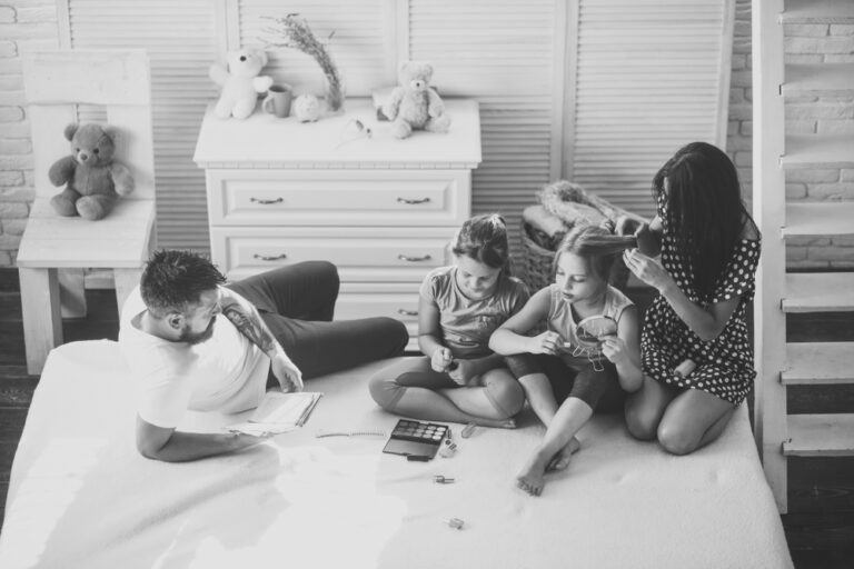 Family playing at home