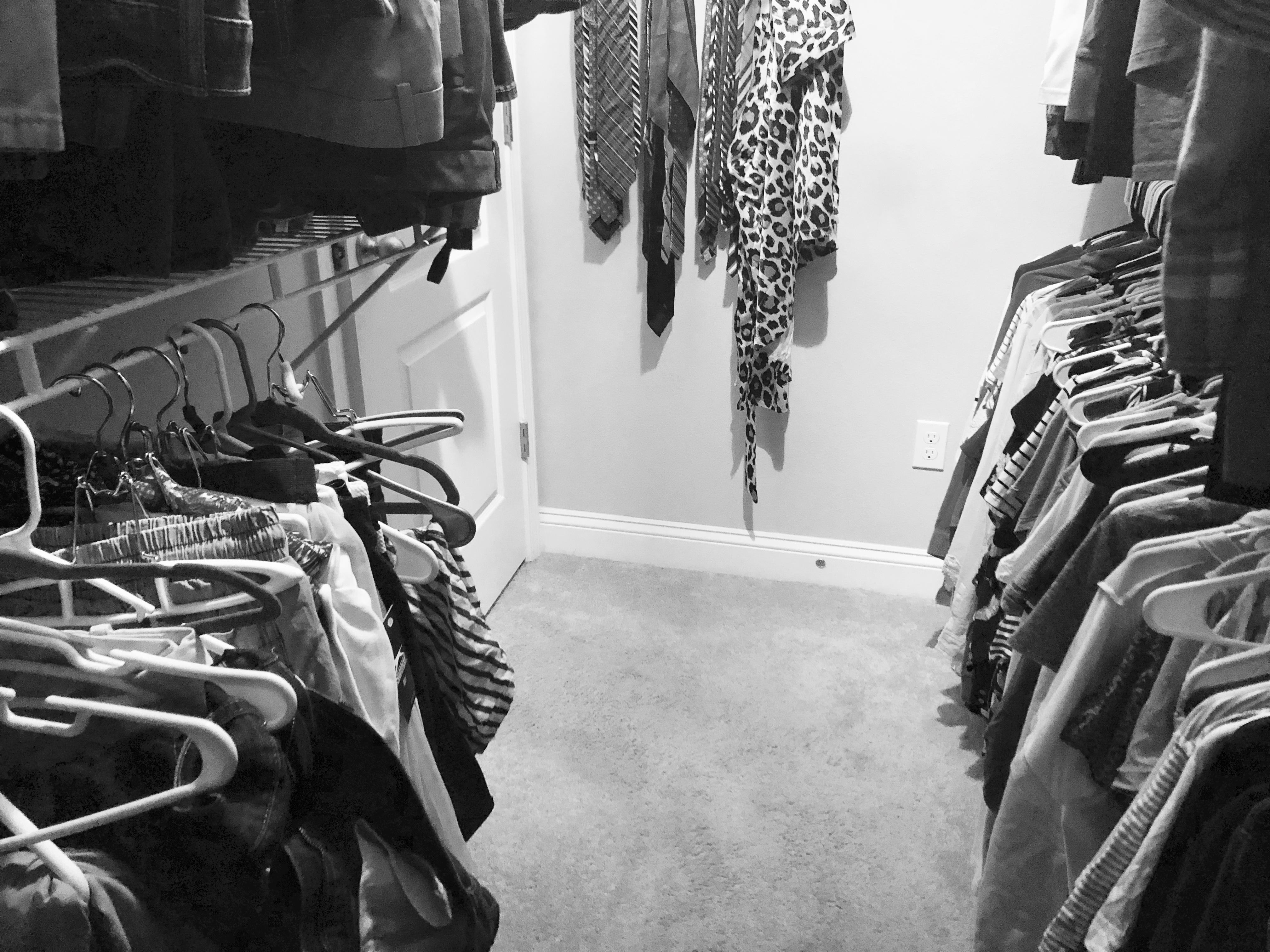 Inside of a closet, black-and-white photo