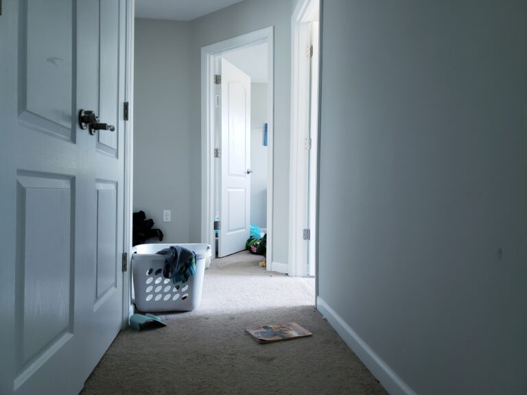 Laundry basket and scattered things in hallway, color photo