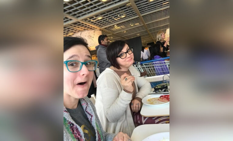Two women out for lunch, color photo