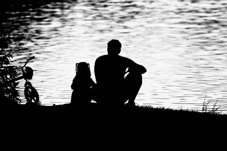 Father daughter by water