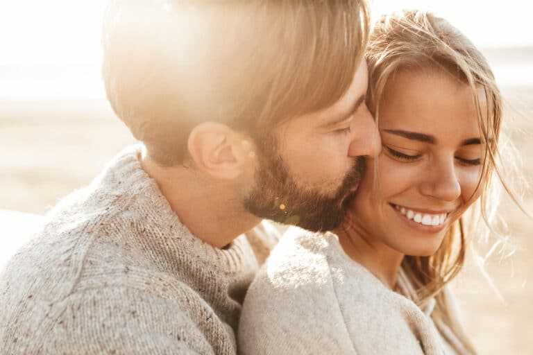 Husband and Wife embrace