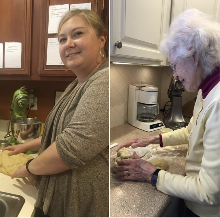 Side-by-side photo of woman and grandma making rolls, color photo