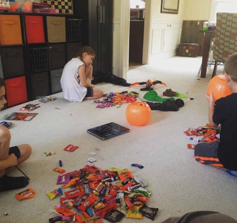 Halloween candy and kids