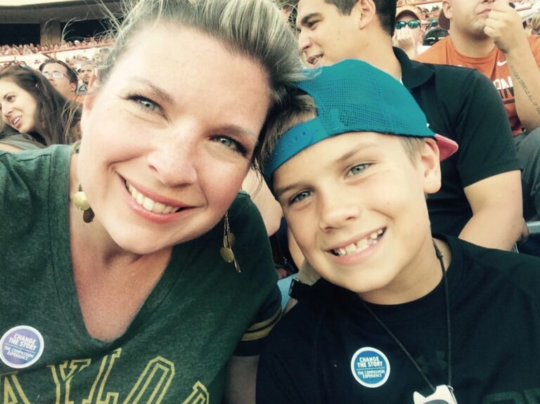 Mother and son selfie, color photo