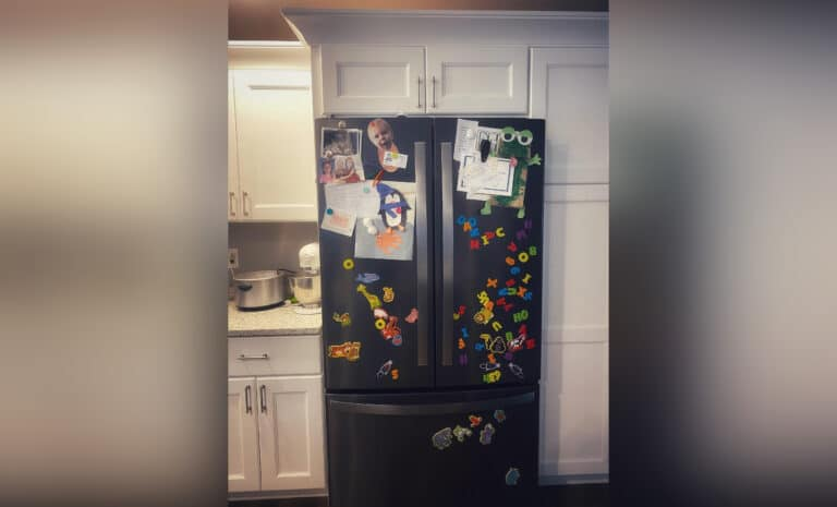 Refrigerator covered in magnets, color photo