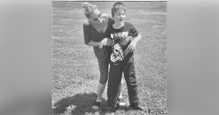 Mom and son, black and white photo