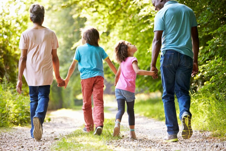 Family walking outside