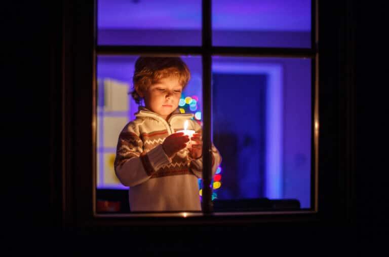 Little boy Christmas window
