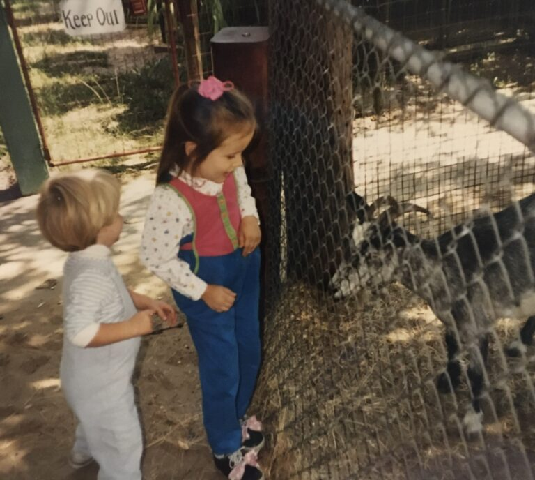 Small kids at a zoo