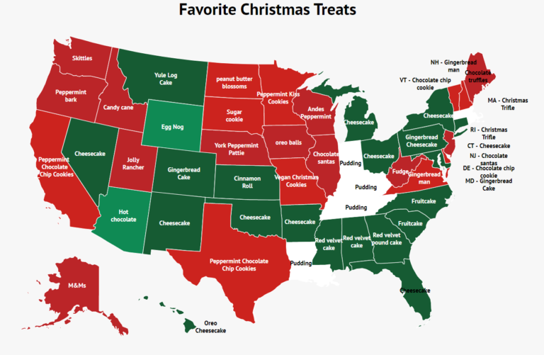 map of Christmas treats by state