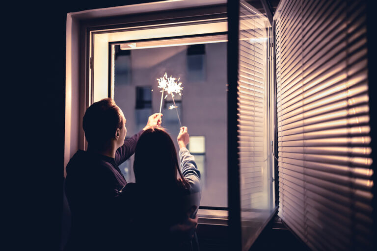 Sparklers out the window