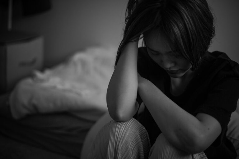 Sad woman black and white photo