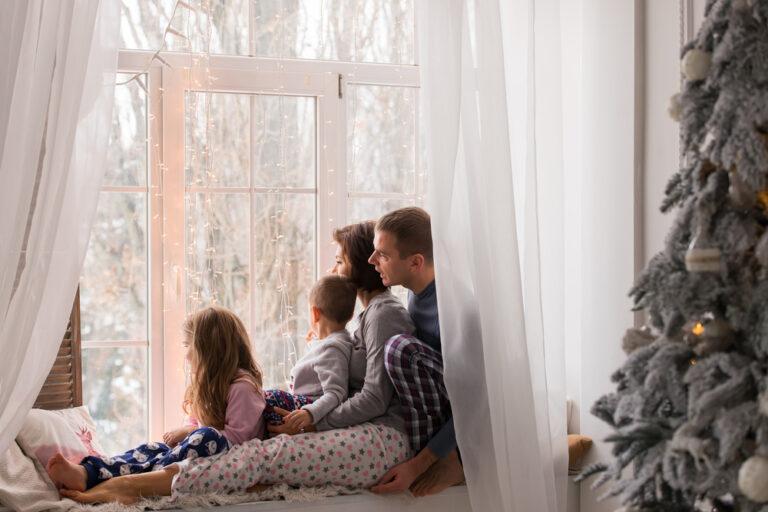 Family in winter window