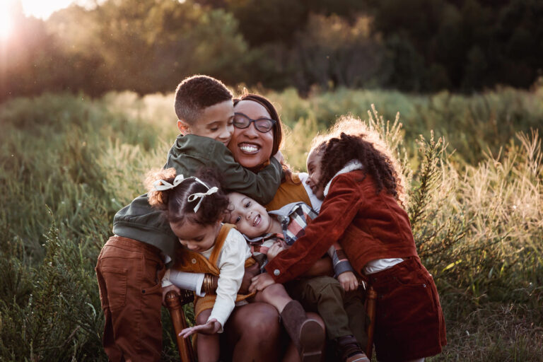 Woman and her children, color photo