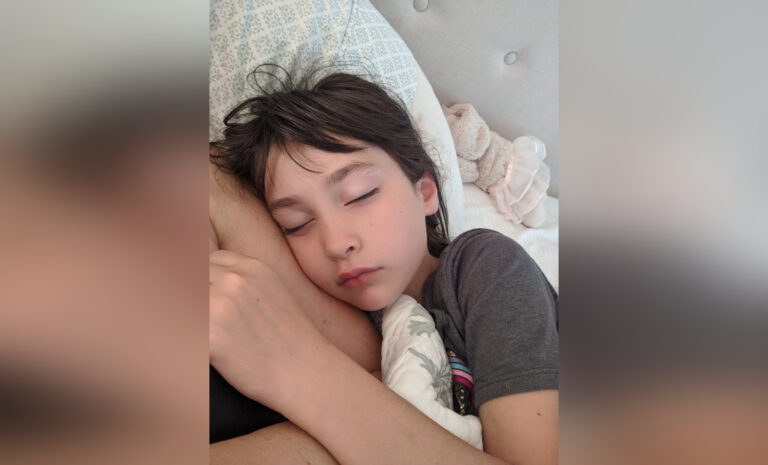 Child sleeping, color photo
