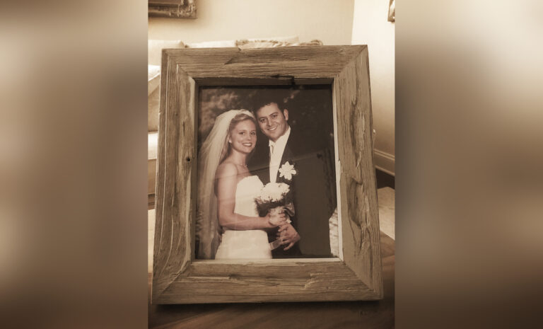 Wedding photo in frame, color photo