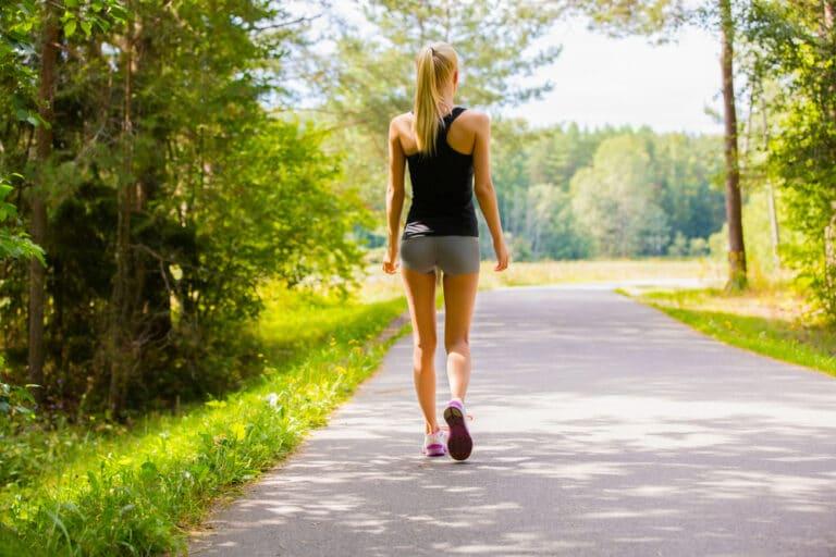 Thin woman walking