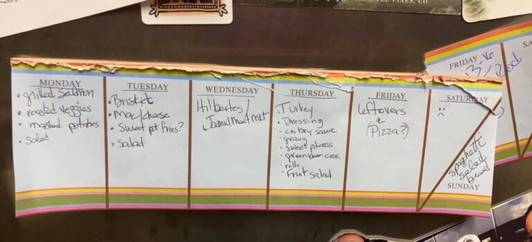 Written menu plan for the week, color photo
