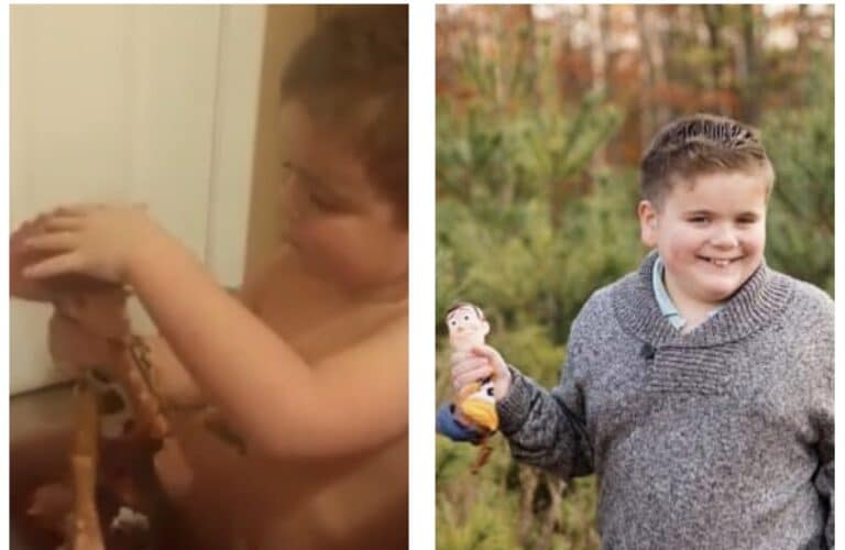 Picture of boy as toddler and child, color photos