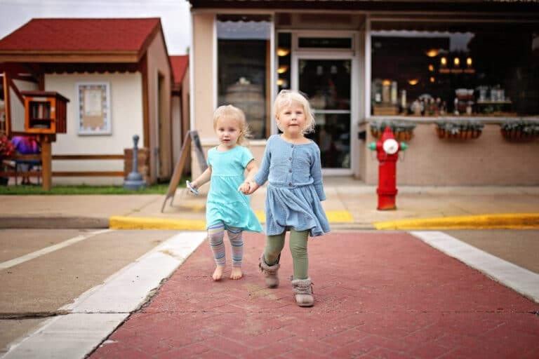 Two little girls in small town