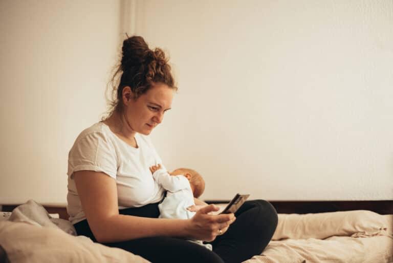 Mom with newborn breastfeeding