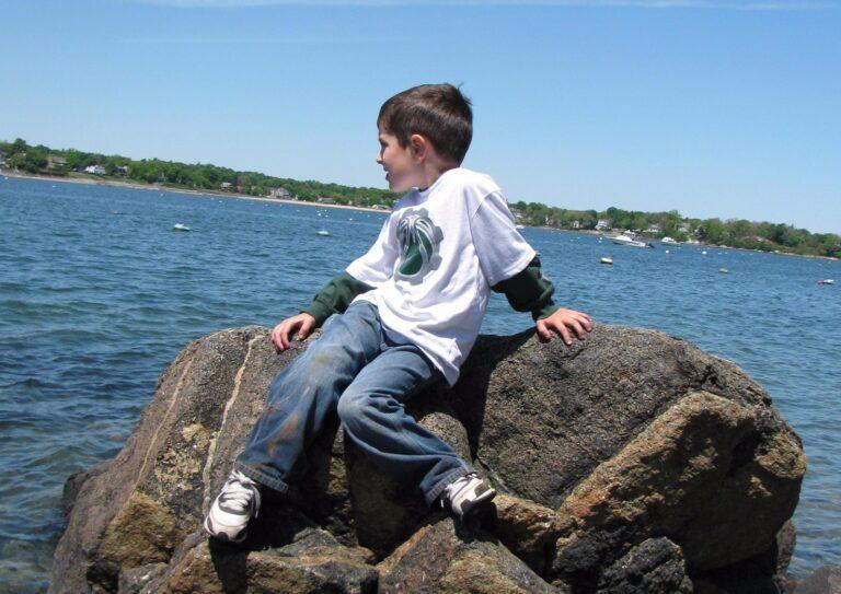 Little boy on rocks