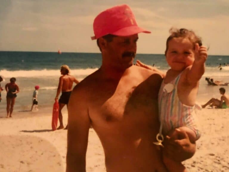 Vintage photo of dad and daughter