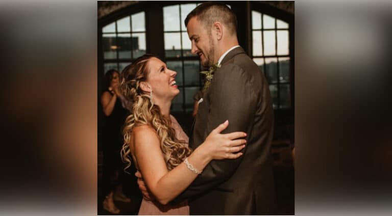 Husband and wife dancing, color photo