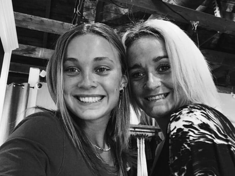 Mother and teen daughter, black-and-white photo