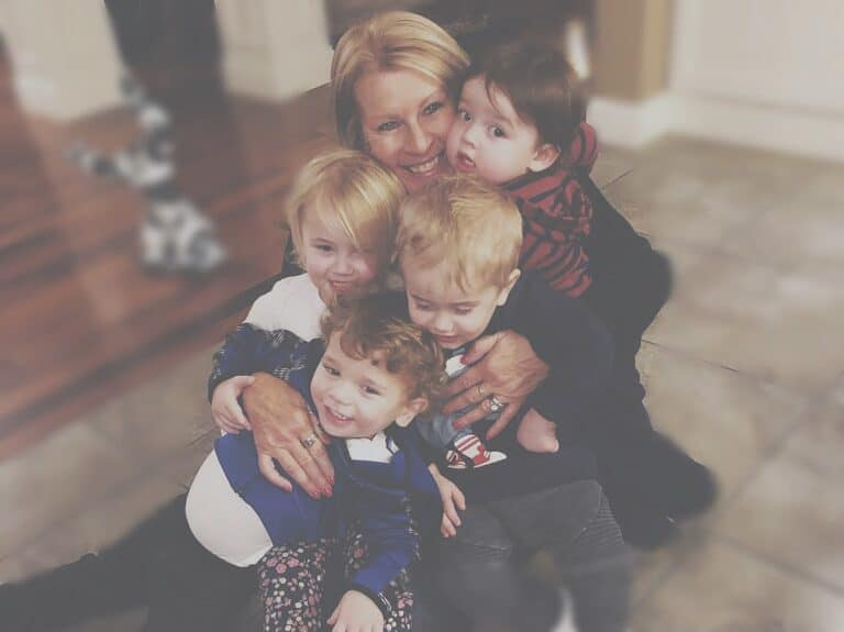 Grandmother with four grandchildren, color photo