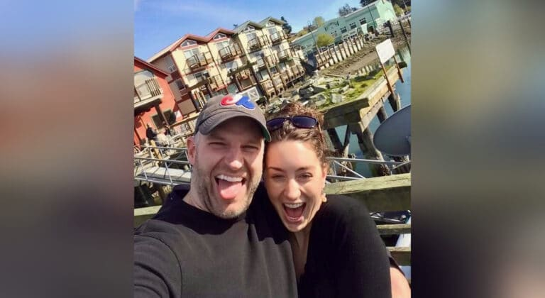 Husband and wife selfie, color photo