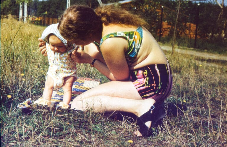 Vintage photo of mother and baby
