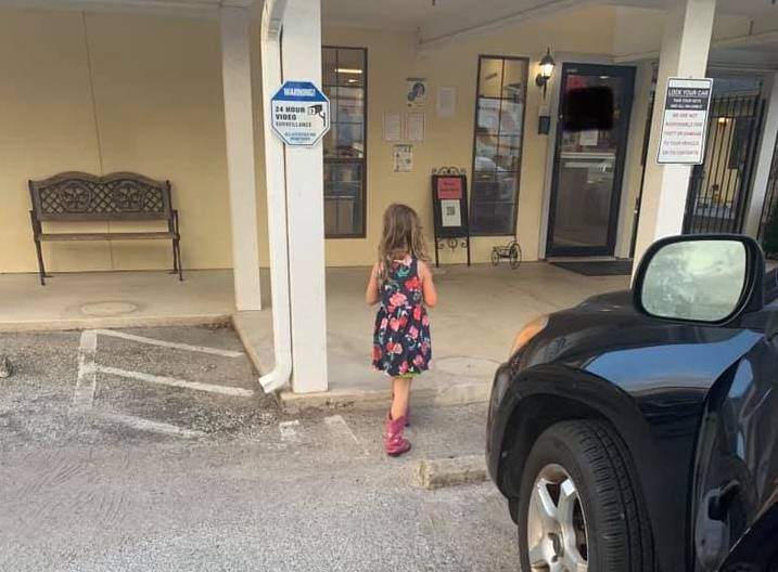 Child walking into daycare